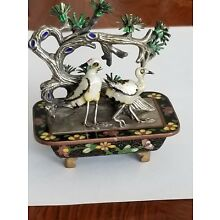 Chinese Export Silver Cloisonné Enamel Bonsai Crane Sculpture