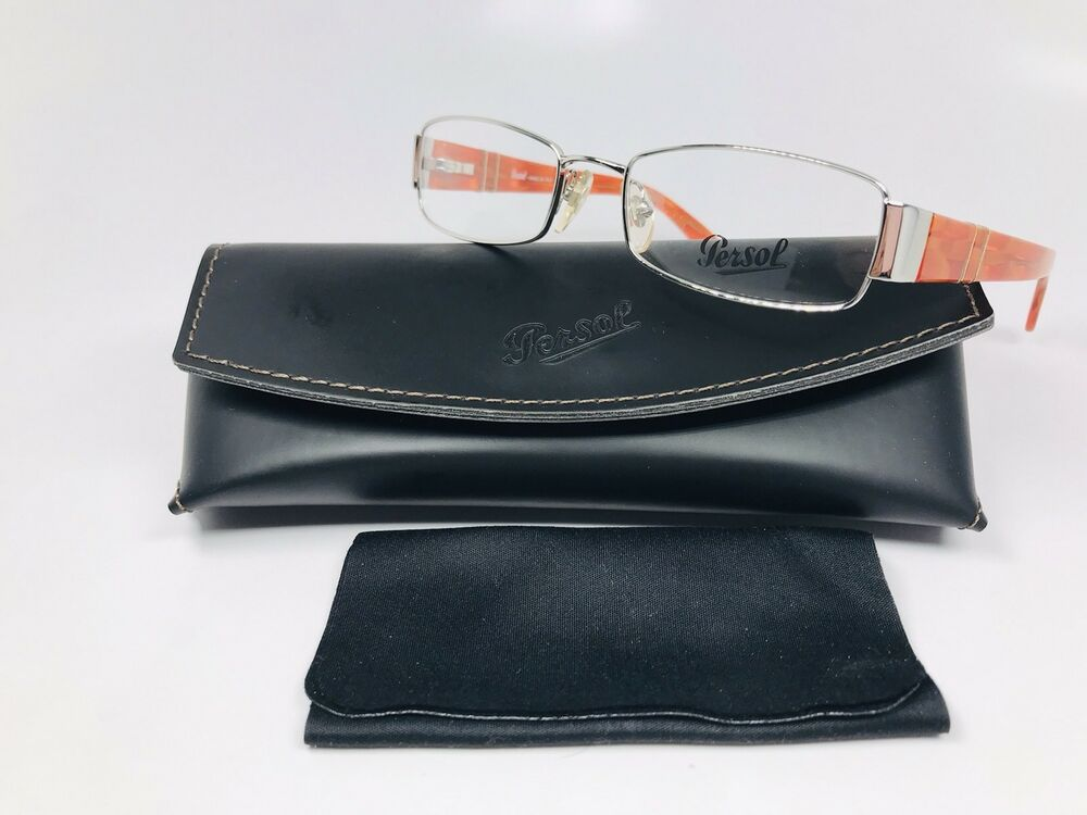 aaa7eb29e6 Details about 🔸New Authentic Persol 2312-V 518 Silver   Orange Eyeglasses  50mm with Case