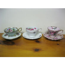 3 sets Tea cups saucers china unmarked footed or pedestal cut outs floral luster