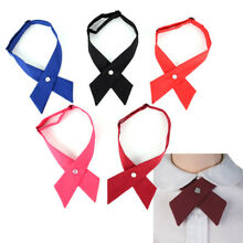 Women Girl Party Wedding Bowties Fake Collar Solid Color Cross Knot Necktie DR