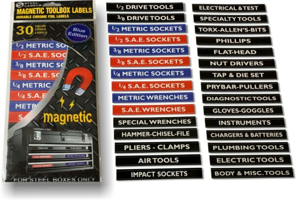 Ultimate Magnetic Toolbox Label organizer set for tool chest, boxes, drawers