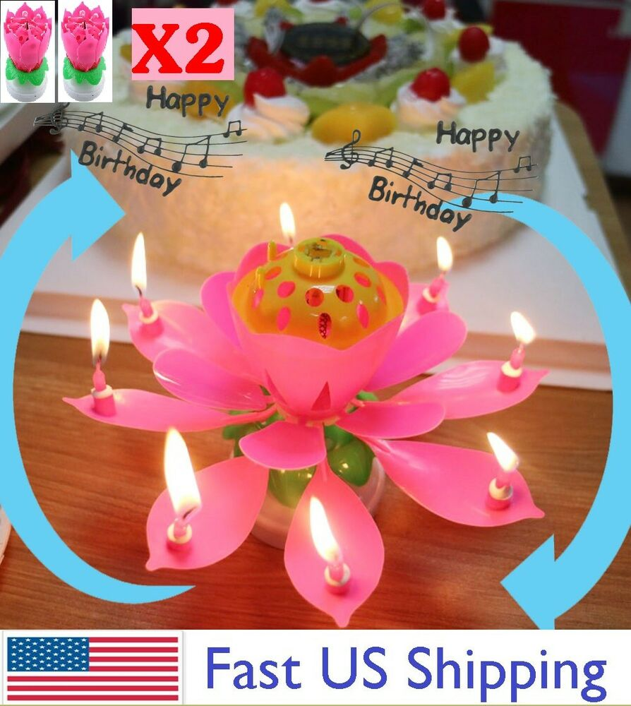 Details About 2 X Lotus Candle Birthday Flower Musical Floral Cake Candles W Music Magic