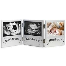 Triple Sonogram Picture Frame Keepsake Ultrasound Pregnancy Scan Images & Photos