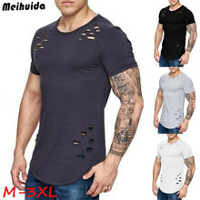 Men Slim Fit O Neck Short Sleeve Muscle Tee T-shirt Ripped Casual Tops Blouse