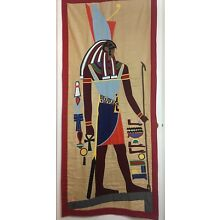Egyptian Wall Hanging Tapestry Vintage Handmade Art Textile Decor, Horus & Ankh