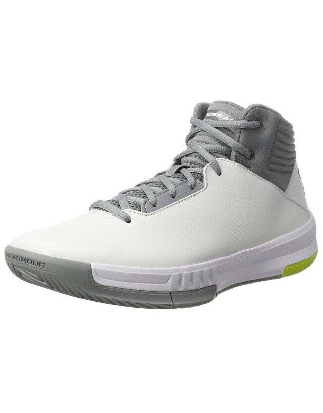 0d1c8e15bef0 Details about Men UA Under Armour Lockdown 2 Basketball Shoes White Gray  1303265-100