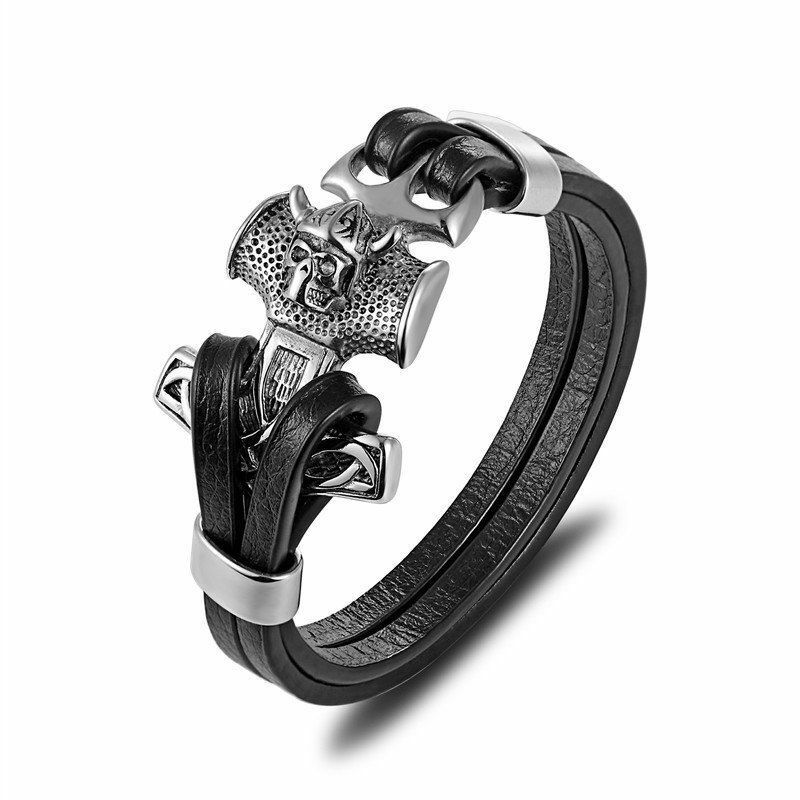 8a33d7e71e Details about Stainless Steel Anchor Men Genuine Leather Braided Viking  Gold Silver Bracelet