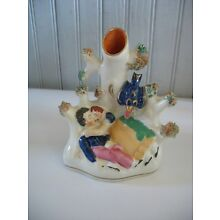 Antique 19th Staffordshire Vase Figurine Group of Lovers Couple Kissing Bird