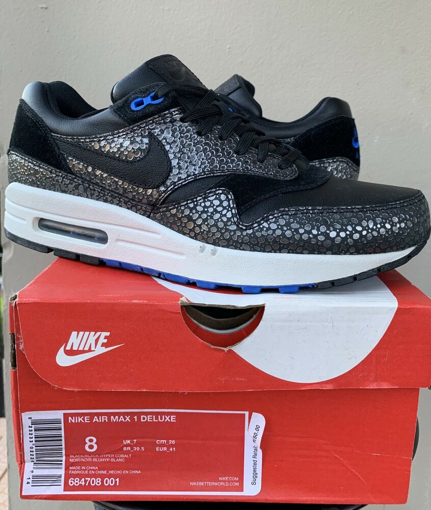 new concept b2dfc 300a3 Details about NIKE AIR MAX 1 I Dlx SZ 8 SAFARI BLACK COBALT BLUE atmos  parra jordan Animal