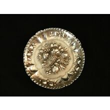 Vintage Spain small repousse dish 4'' dia.silverplate