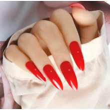 LONG STILETTO *RED* Full Cover Press On 24 Nail Tips + Glue!