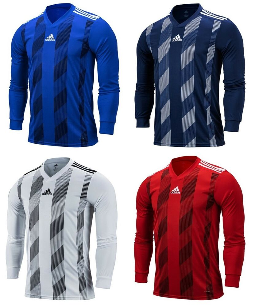 a9d557e42 Details about Adidas Men STRIPE 19 Shirts L/S Soccer Jersey White Blue  Climalite Shirt DP3208