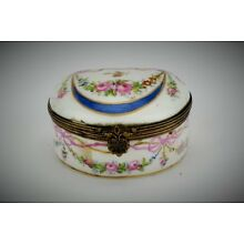 Antique Sevres Hand-Painted French Porcelain Trinket Pill Box Brass Hinge - 1760
