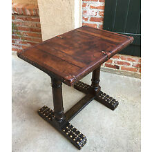 Antique English Oak Sofa Pub Kitchen TABLE Desk w LEATHER Brass Tacks Library
