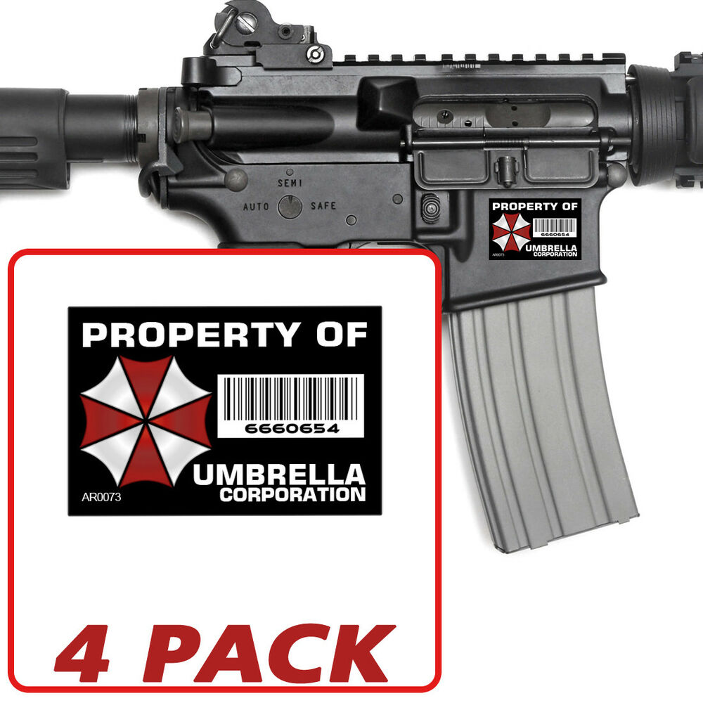 Details about ar 15 umbrella corp 4 pack stickers property vinyl decal lower 5 56 ar0073