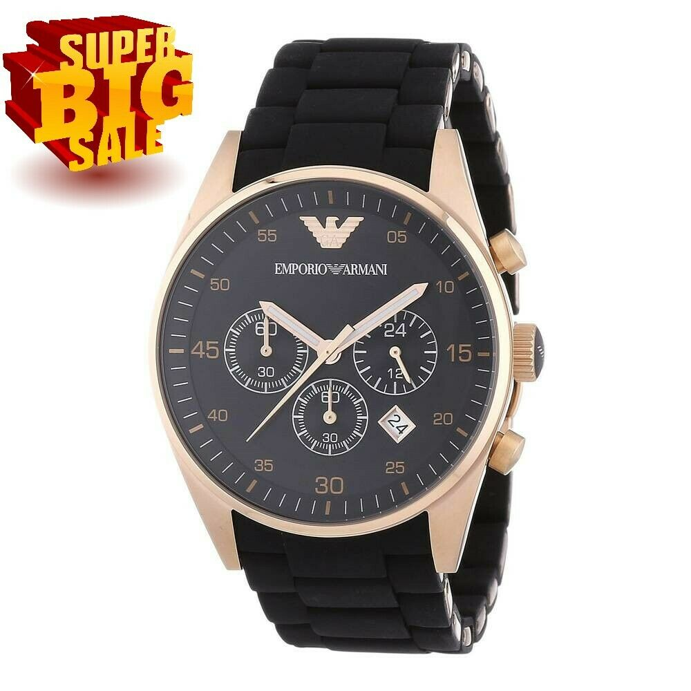 d4e641d31061 Details about NEW AR5905 EMPORIO ARMANI WATCH ROSE GOLD BLACK SILICONE  RUBBER CHRONOGRAPH MENS