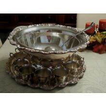 Vintage Towle EL GRANDEE  SILVERPLATE LARGE PUNCH BOWL SCROLL FLORAL BORDER EDGE