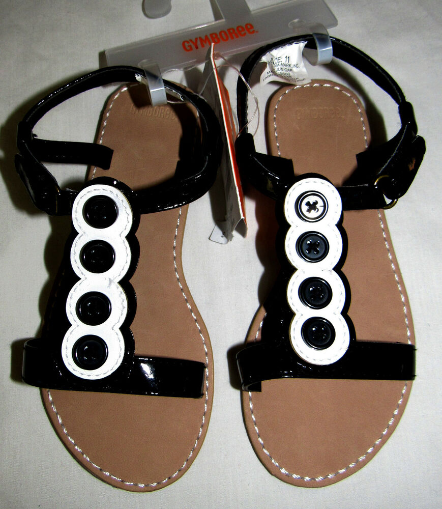 Gymboree Daisy Park Black Sandals Shoes w// White Flowers Toddler Girl Size 5 NEW