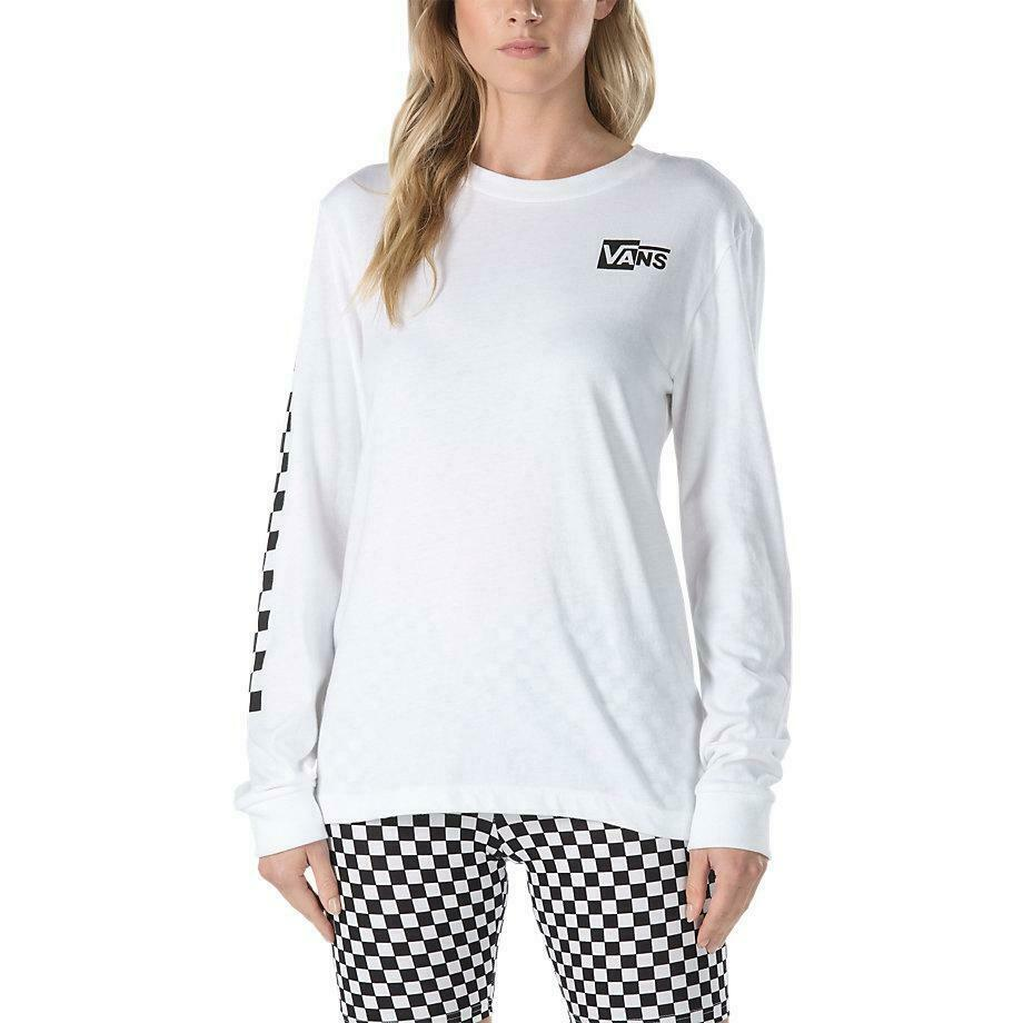4b3d6594c Details about Vans Half Checked Long Sleeve Tee White
