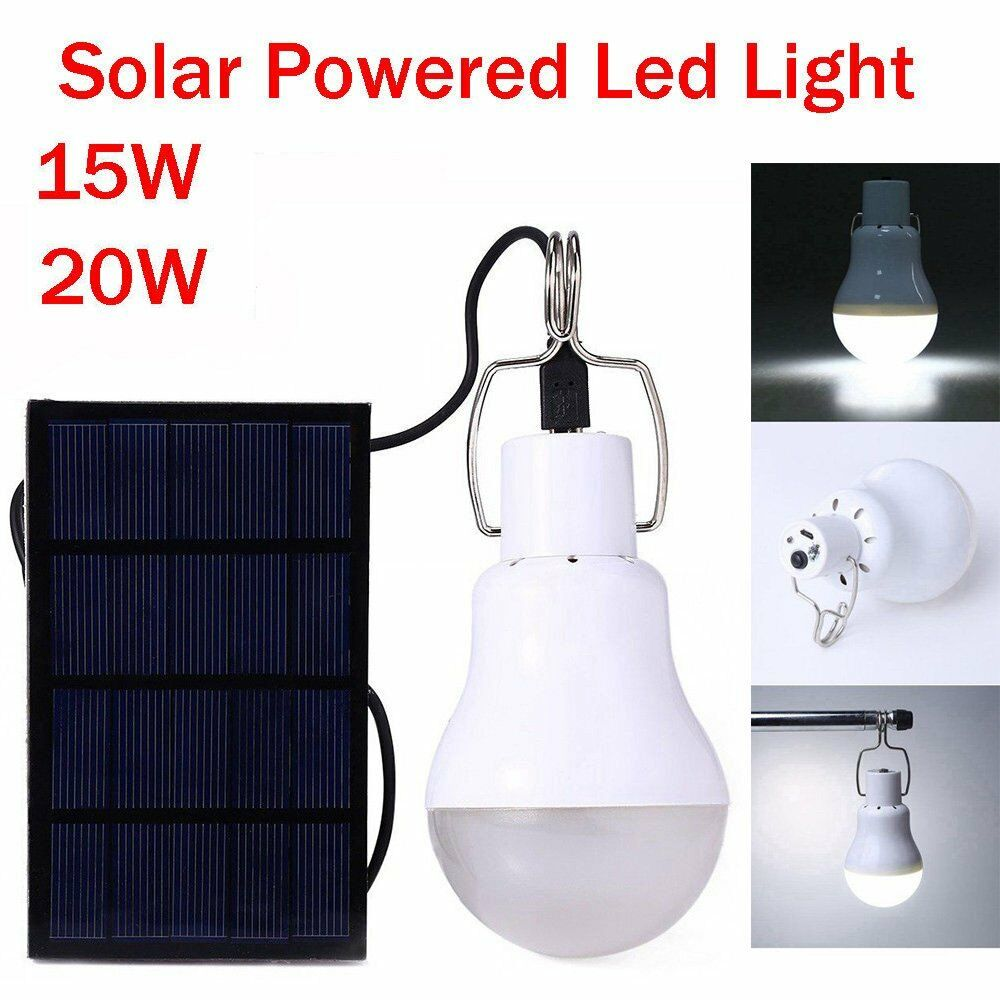 Details About 20w Led Solar Light Panel Bulb Indoor Outdoor Camping Tent Shed Emergency Lamp