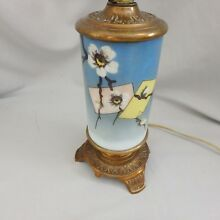Eastlake Victorian Hand Painted Milk Glass & Brass Table Lamp w/ Dogwood Detail