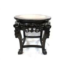 Antique Hand Carved Asian Chinese End Table with Marble Top (B)
