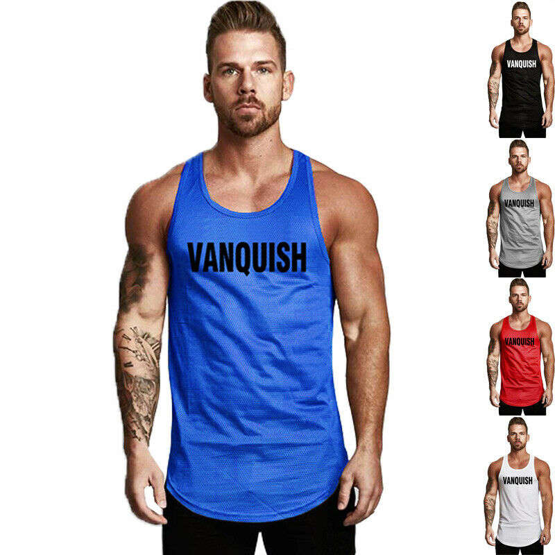 04fd1f5a Details about Men's Sport Breathable Muscle Slim Fit Gym Vests Bodybuilding  Stringer Tank Tops