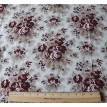 Antique French Old Roses & Picotage Cotton Chintz Fabric~L-29