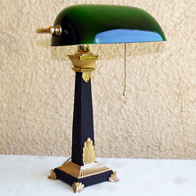 VINTAGE DECO 1938 SOLID BRASS AND ALUMINUM BANKERS DESK LAMP GREEN GLASS SHADE