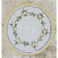 VINTAGE MISSION ARTS & CRAFTS EMBROIDERED LINEN ROUND TABLE COVER 24.5