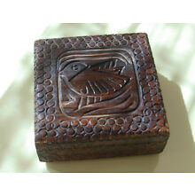Antique ORNATE CARVED WOOD BOX BIRD