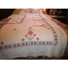 VINTAGE LARGE RED & GREY CROSS STITCH TABLECLOTH 62