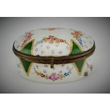 Antique Sevres - Style Hand-Painted French Porcelain Oval Trinket Pill Box