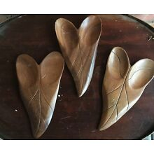 Set 3 Wooden Carved Leaves Tray Wall Hanging Carved Mid Century Danish retro