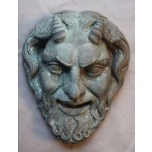 Devil Greek Roman Satyr Mask Copper Plaque Gothic Centaur Skull Human Bronze