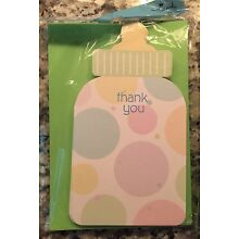 TWO New Packages Of Hallmark Pastel Baby Bottle Thank You Cards ~ 24 Cards Total