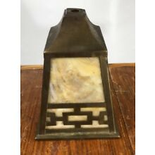 antique arts and crafts slag glass lamp light shade