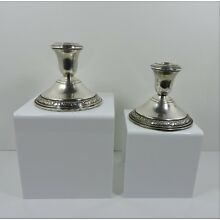 Pair Of Schweitzer Sterling Silver Candlesticks Holders