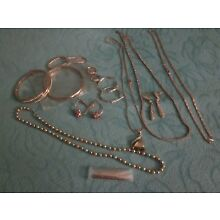 Lot Rose Gold Tone Bangle Bracelets Necklaces Earrings Chains, UPDATED DETAILS