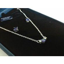 STERLING SILVER PURPLE CZ NECKLACE AND EARRING SET IN GIFT BOX