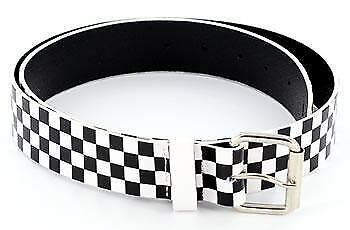 9357676e58 Details about Black White Checkered 80 s Punk Genuine Leather Belt
