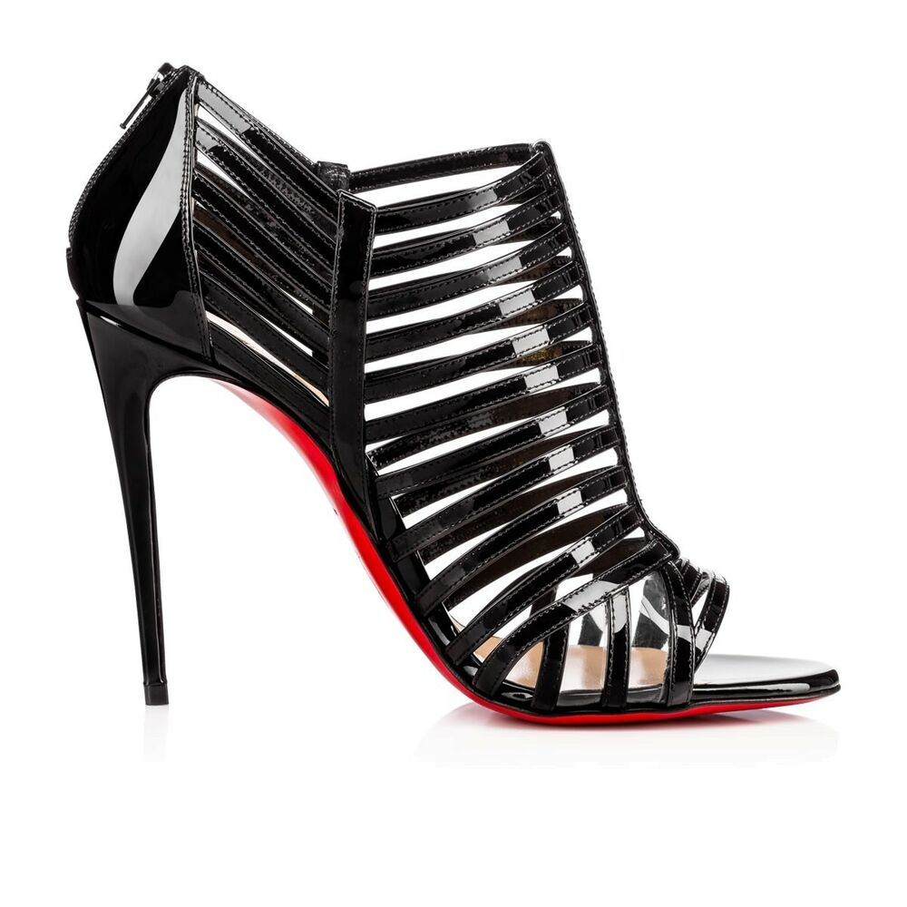 1dbc87e1569 Details about christian louboutin city jolly black patent caged booties  sandals shoes jpg 1000x1000 Caged christian