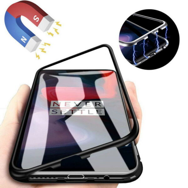 For Oneplus 6T 6 Magnetic Adsorption Metal Bumper Flip Tempered Glass Case Cover