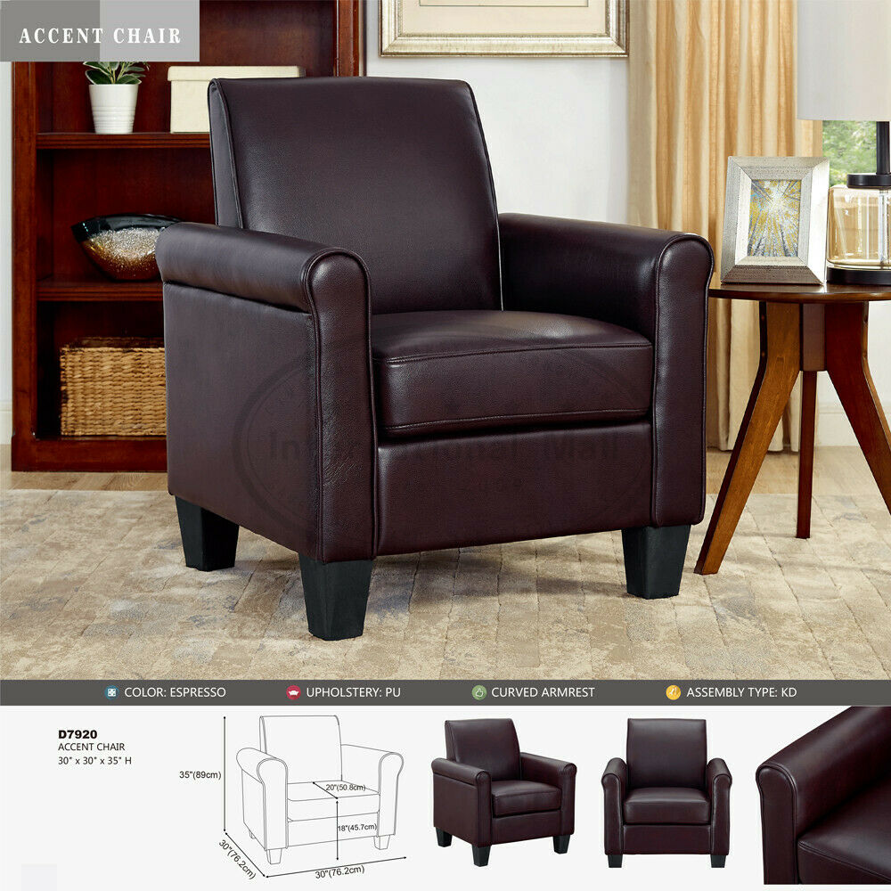 Details About Modern Accent Arm Chair Single Sofa Seat Leisure Living Room Furniture  Brown