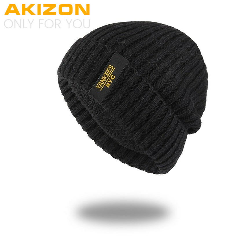 fa2cdb8f5e7 Details about AKIZON Winter Autumn Beanies Hat Unisex Warm Soft Skull  Knitting Cap for Men