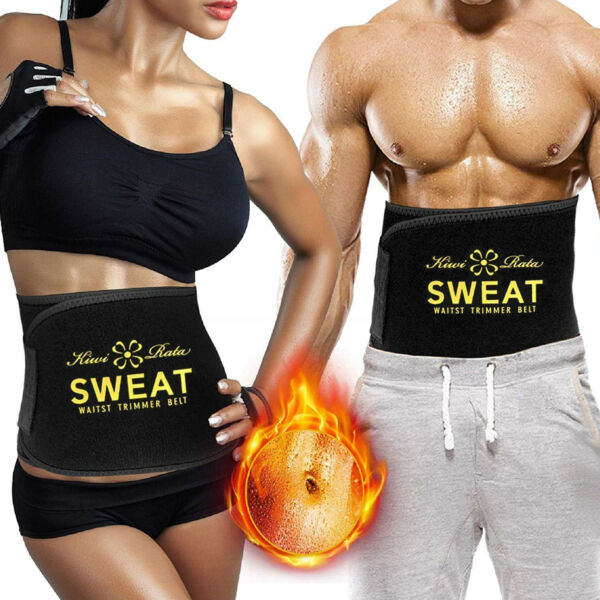 Men&Women Sweat Waist Trainer Adjustable Stomach Belly Fat Burner Wrap Shaper