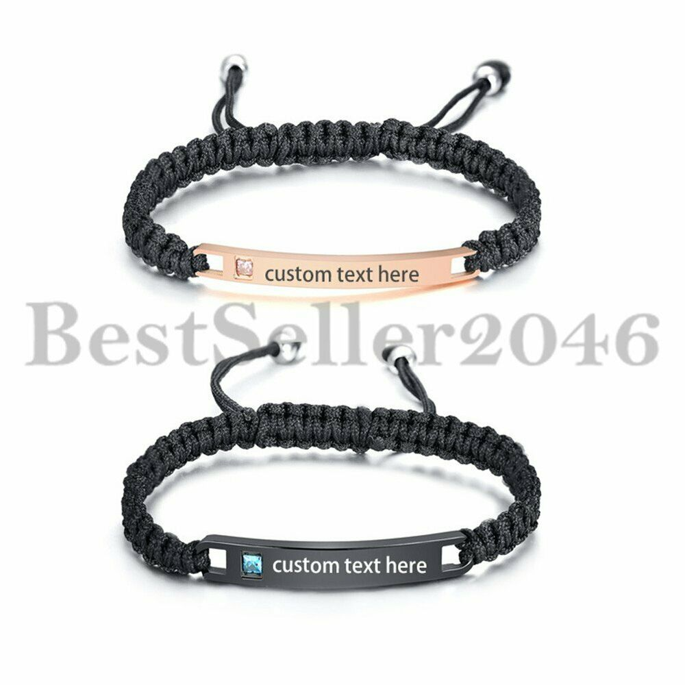 8378f4541c5d10 Details about Personalized His and Hers Couples Stainless Steel Bar Leather Braided  Bracelets