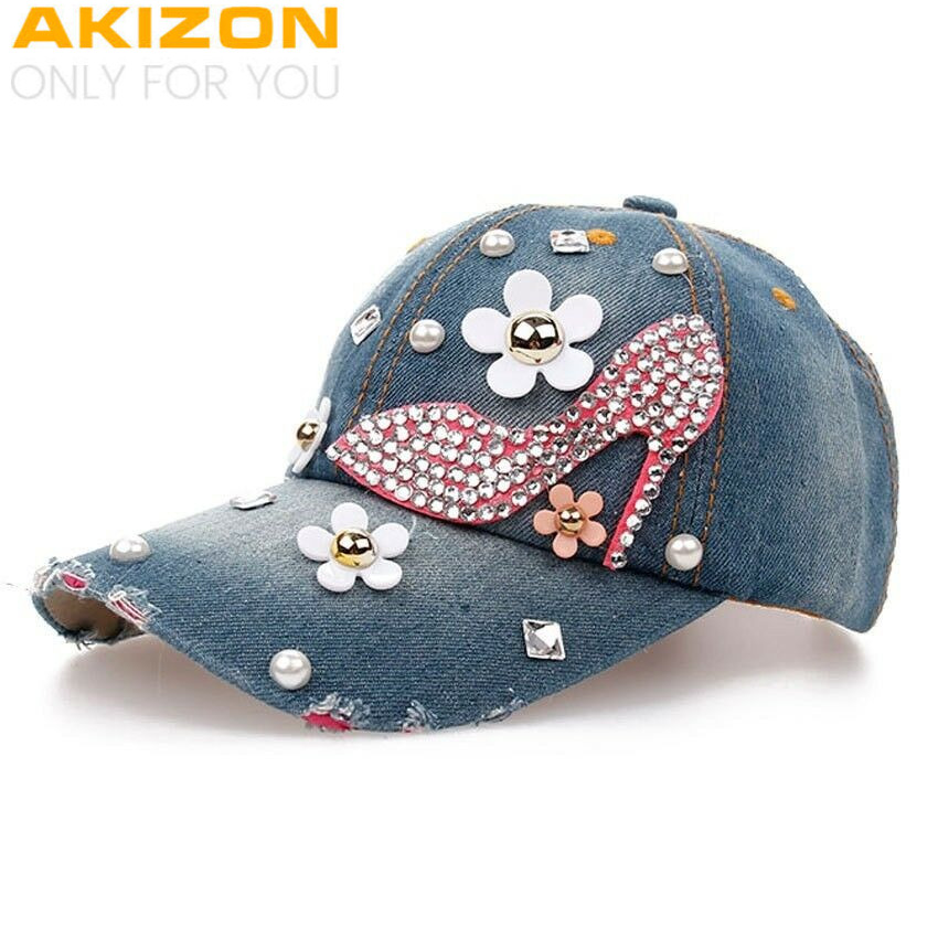 Baseball Cap for Women and Teen Girls Fashion Distressed Rhinestones Jean  Cotton  93a38f515cdb
