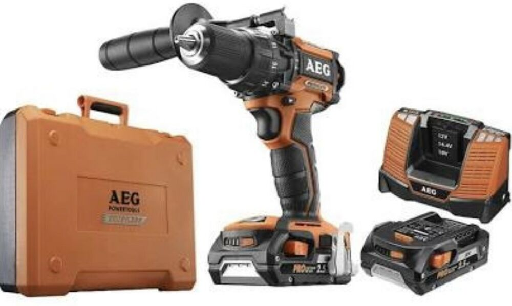 aeg 18v cordless brushless combi drill x2 2 5ah fast charger case 4002395280124 ebay. Black Bedroom Furniture Sets. Home Design Ideas