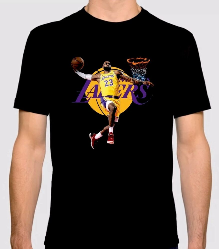 Los Angeles Lakers Custom Design T Shirt With Lebron James In Logo